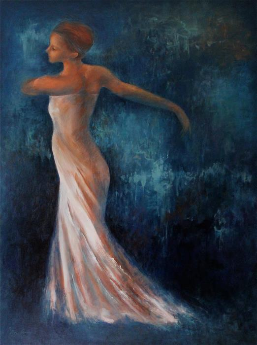 Discover Original Art by Naoko Paluszak | Dancing with Blue oil painting | Art for Sale Online at UGallery