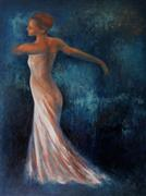 People art,Fashion art,Representational art,oil painting,Dancing with Blue