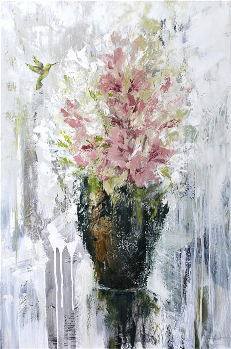 Discover Original Art by Naoko Paluszak | Bouquet with Hummingbird II oil painting | Art for Sale Online at UGallery