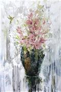 Impressionism art,Still Life art,Flora art,Representational art,oil painting,Bouquet with Hummingbird II