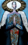 Fantasy art,People art,Religion art,Representational art,Modern  art,mixed media artwork,An Angel in Blue with Rays of Gold
