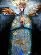 Expressionism art,People art,Religion art,Representational art,mixed media artwork,An Angel in Blue and Gold