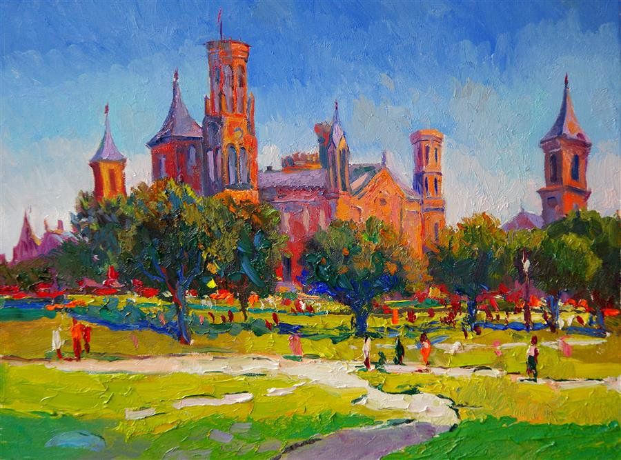 Discover Original Art by Suren Nersisyan | Smithsonian Institution Building, Washington DC, Morning oil painting | Art for Sale Online at UGallery