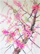 Impressionism art,Flora art,Representational art,watercolor painting,Cherry Blossom (Vertical)