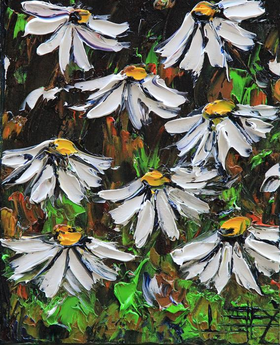 Discover Original Art by Lisa Elley | Delightful Daisies oil painting | Art for Sale Online at UGallery