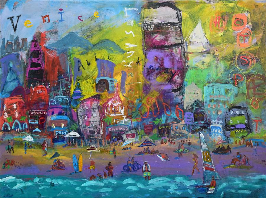 Discover Original Art by Allen Wittert | Venice Beach Life acrylic painting | Art for Sale Online at UGallery