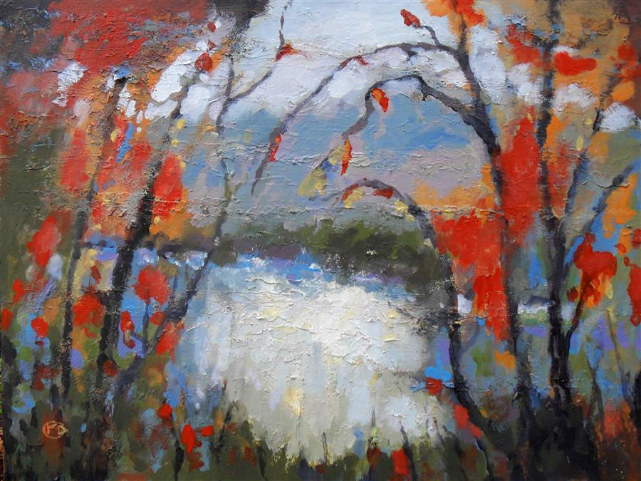 Discover Original Art by Kip Decker | Fall Color Along River acrylic painting | Art for Sale Online at UGallery
