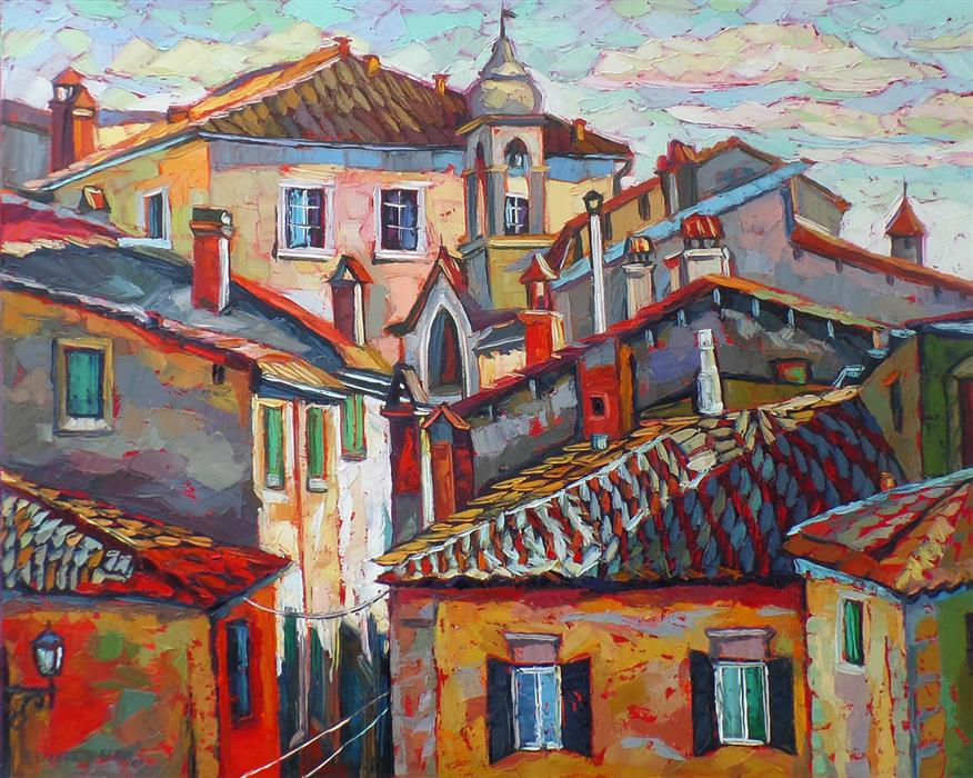 Discover Original Art by Elizabeth Elkin | Tuscany Roofs oil painting | Art for Sale Online at UGallery