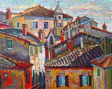 Architecture art,Impressionism art,Travel art,Representational art,oil painting,Tuscany Roofs