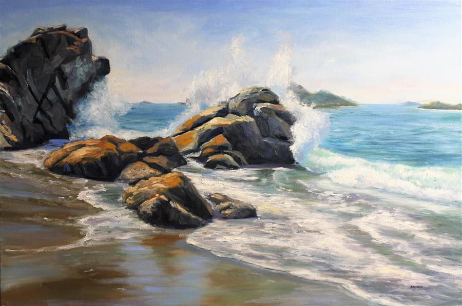 Discover Original Art by Andres Lopez | Waves Sanctuary oil painting | Art for Sale Online at UGallery