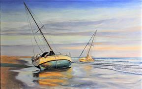 Seascape art,Classical art,Representational art,oil painting,Waiting for the Wind