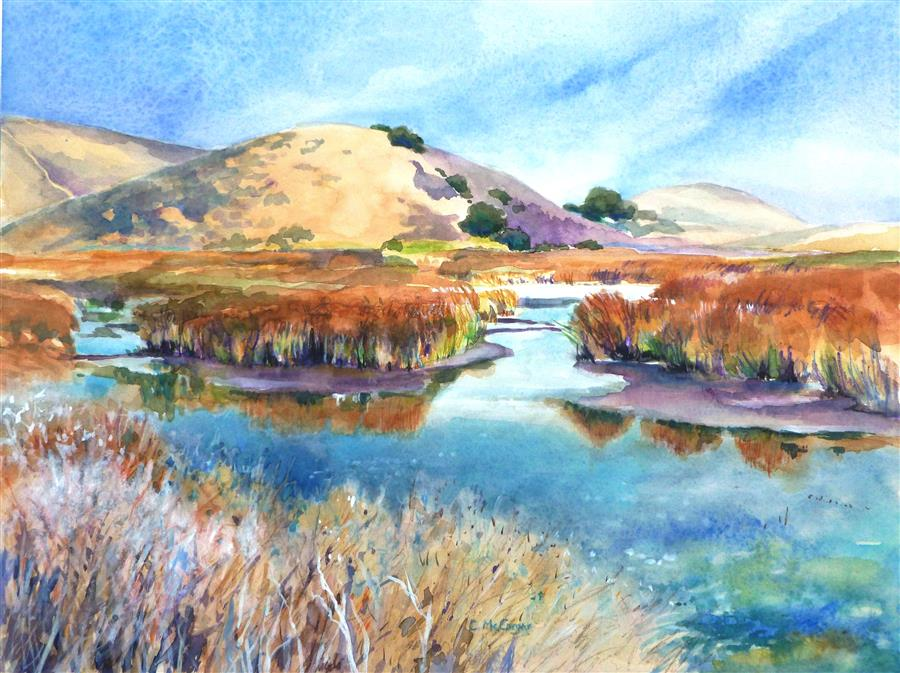 Discover Original Art by Catherine McCargar | Coyote Hills Wetlands watercolor painting | Art for Sale Online at UGallery