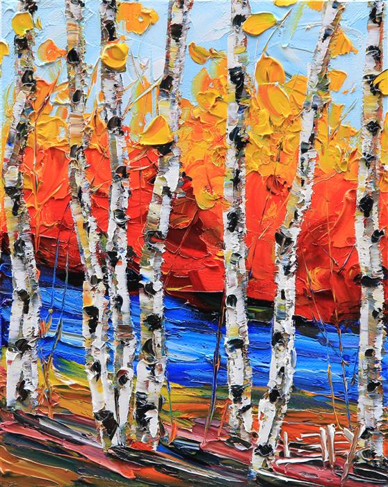 Discover Original Art by Lisa Elley | Simply Birch oil painting | Art for Sale Online at UGallery