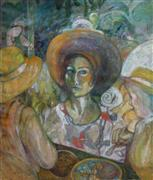 Expressionism art,People art,Representational art,oil painting,Eating Caricoles