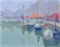 Impressionism art,Seascape art,Travel art,Representational art,oil painting,Morning in a Harbor