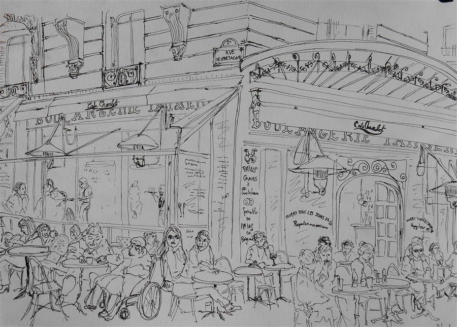 Discover Original Art by Orlando Marin-Lopez | Cafe de Paris ink artwork | Art for Sale Online at UGallery