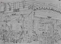 Architecture art,People art,Travel art,Representational art,ink artwork,Cafe de Paris