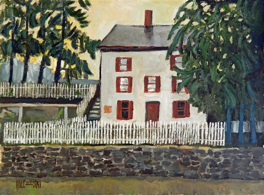 Discover Original Art by Robert  Holewinski | Locktender's House in New Hope oil painting | Art for Sale Online at UGallery