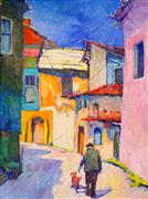 Architecture art,Impressionism art,People art,Travel art,Representational art,oil painting,Forgotten Street
