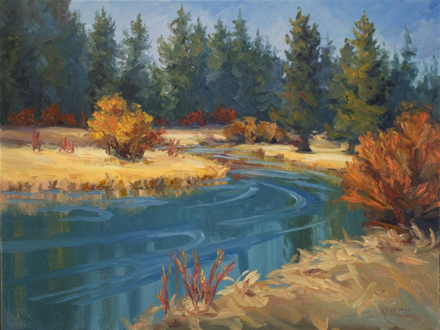 Discover Original Art by Karen E Lewis | Deschutes Fall Grass and Willow oil painting | Art for Sale Online at UGallery