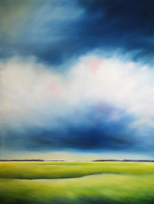 Original art for sale at UGallery.com | Blue Marsh Clouds by NANCY HUGHES MILLER | $1,750 | Oil painting | 40' h x 30' w | http://www.ugallery.com/oil-painting-blue-marsh-clouds