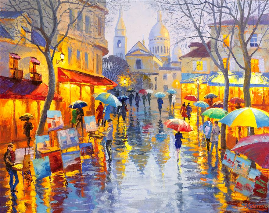 Discover Original Art by Stanislav Sidorov | Montmartre, Paris, Spring Time oil painting | Art for Sale Online at UGallery