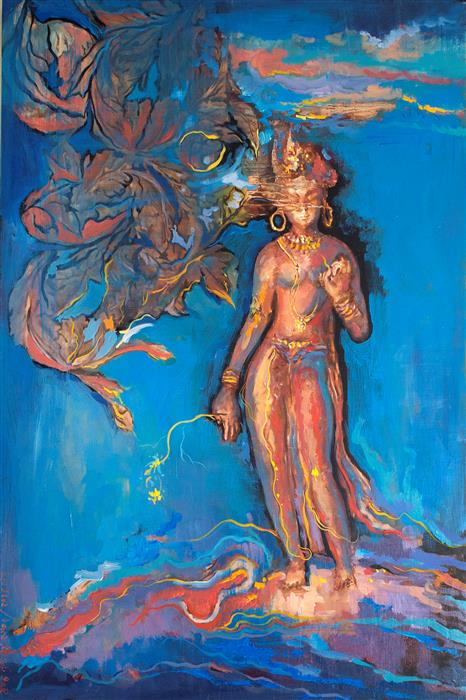 Discover Original Art by Yuvak Tuladhar | Standing Tara acrylic painting | Art for Sale Online at UGallery