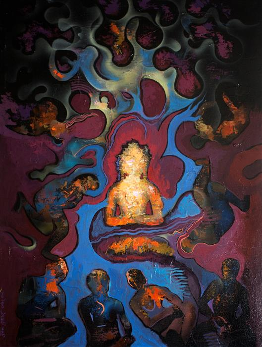 Discover Original Art by Yuvak Tuladhar | Glow of Enlightenment acrylic painting | Art for Sale Online at UGallery