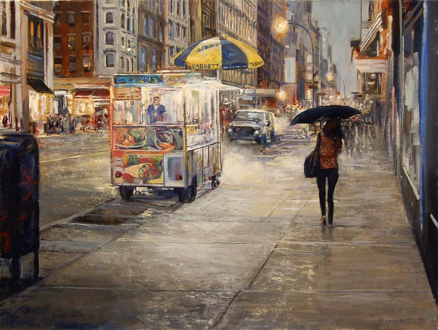 Discover Original Art by Onelio Marrero | Mid Manhattan Drizzle oil painting | Art for Sale Online at UGallery