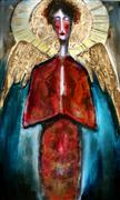Fantasy art,Religion art,Representational art,Modern  art,mixed media artwork,An Angel in Rust Surrounded by Stars