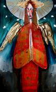 Fantasy art,Religion art,Representational art,Modern  art,mixed media artwork,Angel in Red with Stars in the Sky