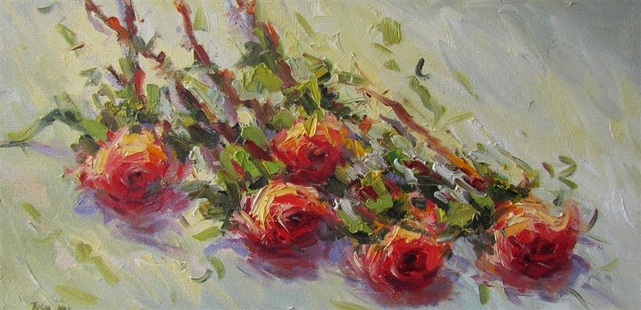 Discover Original Art by Tricia May | Cut Roses oil painting | Art for Sale Online at UGallery