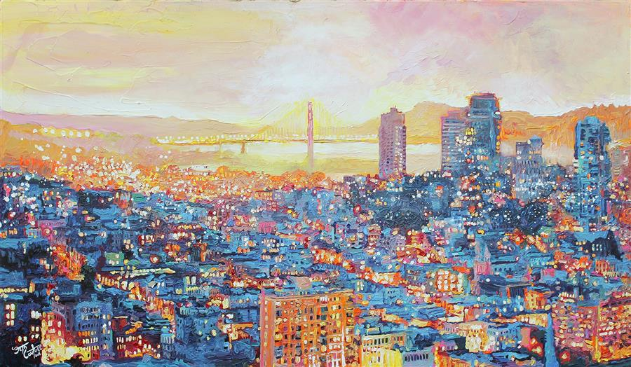 Discover Original Art by Seth Couture | San Francisco, Under a Blue and Citrus Sunset acrylic painting | Art for Sale Online at UGallery