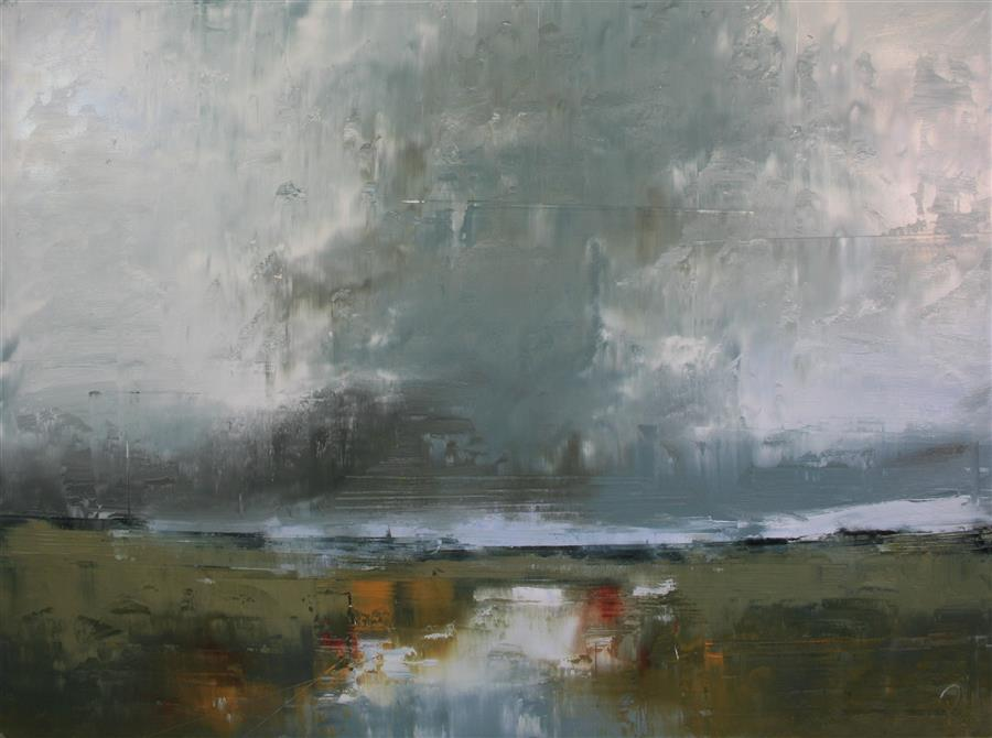 Discover Original Art by Ronda Waiksnis | Clouds Over Cold Creek oil painting | Art for Sale Online at UGallery