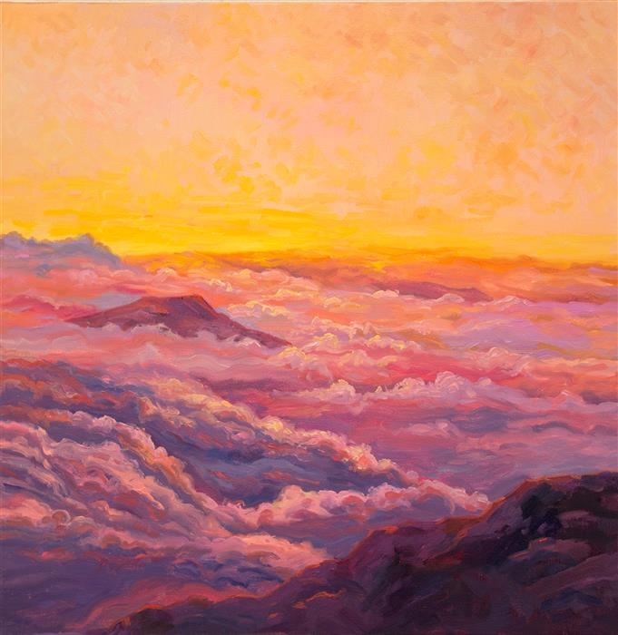 Discover Original Art by Karen E Lewis | Haleakala Sunrise Blanket oil painting | Art for Sale Online at UGallery