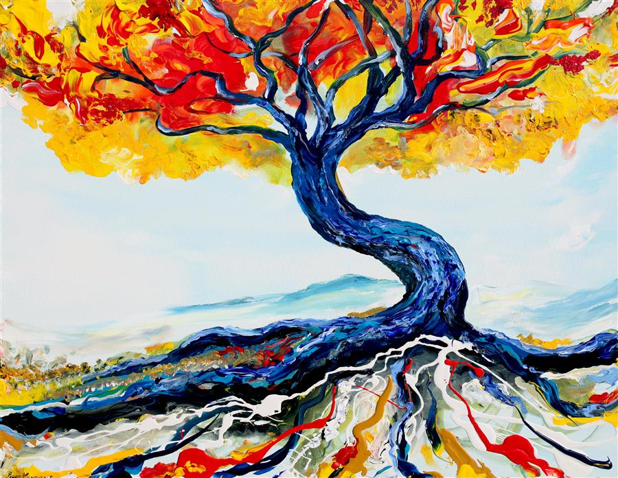 Discover Original Art by Piero Manrique   Blue Tree acrylic painting   Art for Sale Online at UGallery