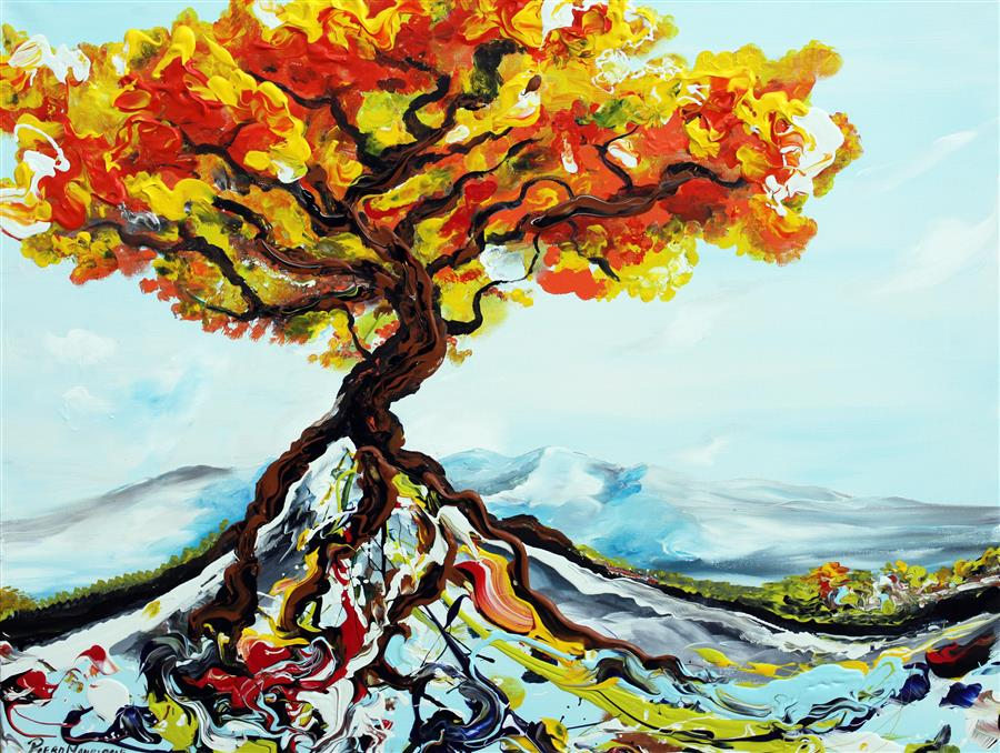 Discover Original Art by Piero Manrique   Growing Tree acrylic painting   Art for Sale Online at UGallery