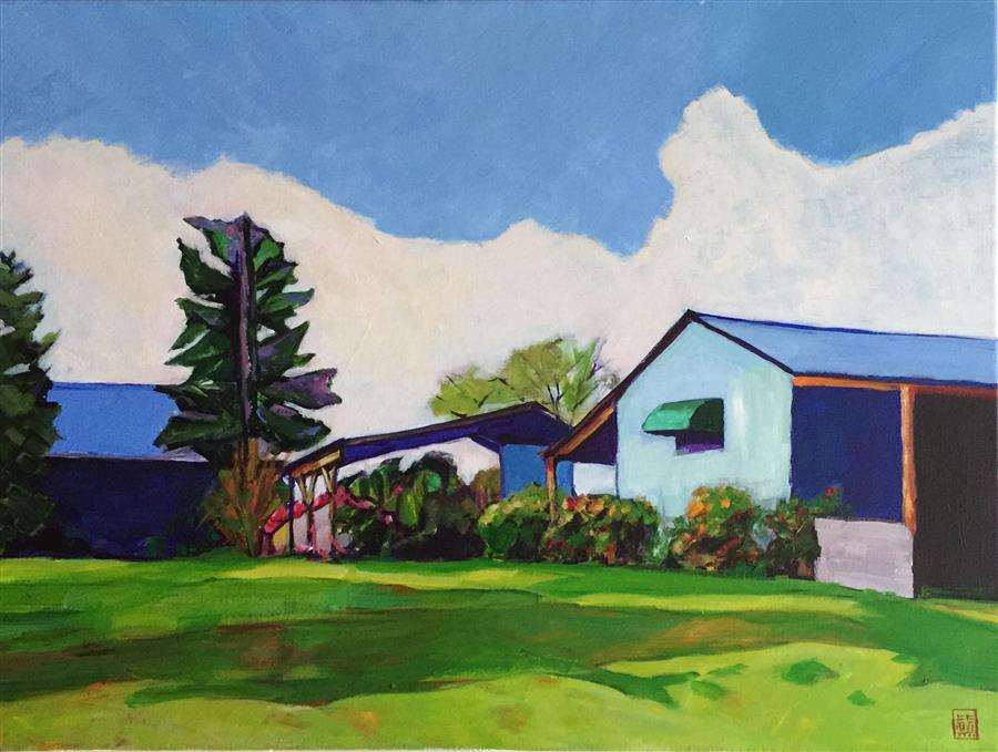 Discover Original Art by Laura (Yi Zhen) Chen | The Blue Barns acrylic painting | Art for Sale Online at UGallery