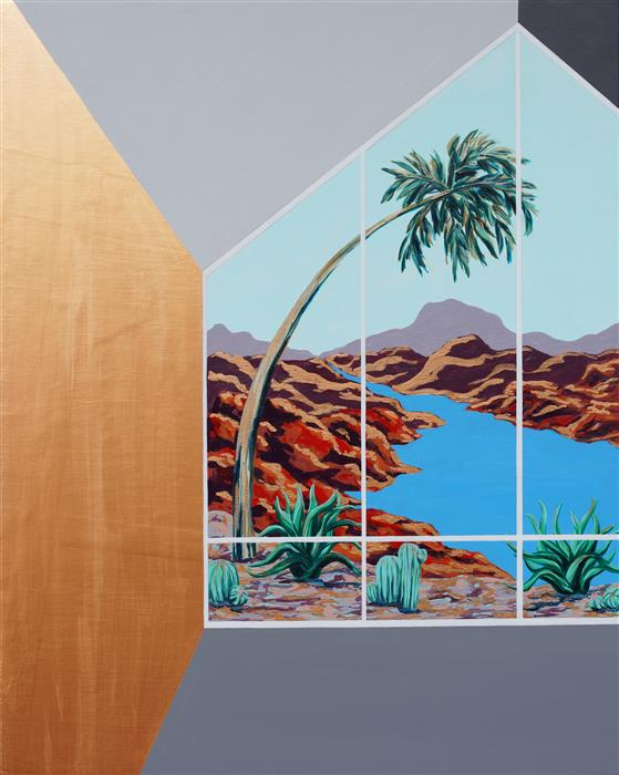 Discover Original Art by Jessica Ecker | Palm Tree (Architected Landscape 18) acrylic painting | Art for Sale Online at UGallery