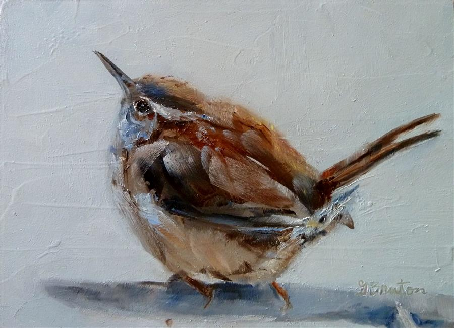 Discover Original Art by Gary Bruton | Winter Day Wren oil painting | Art for Sale Online at UGallery