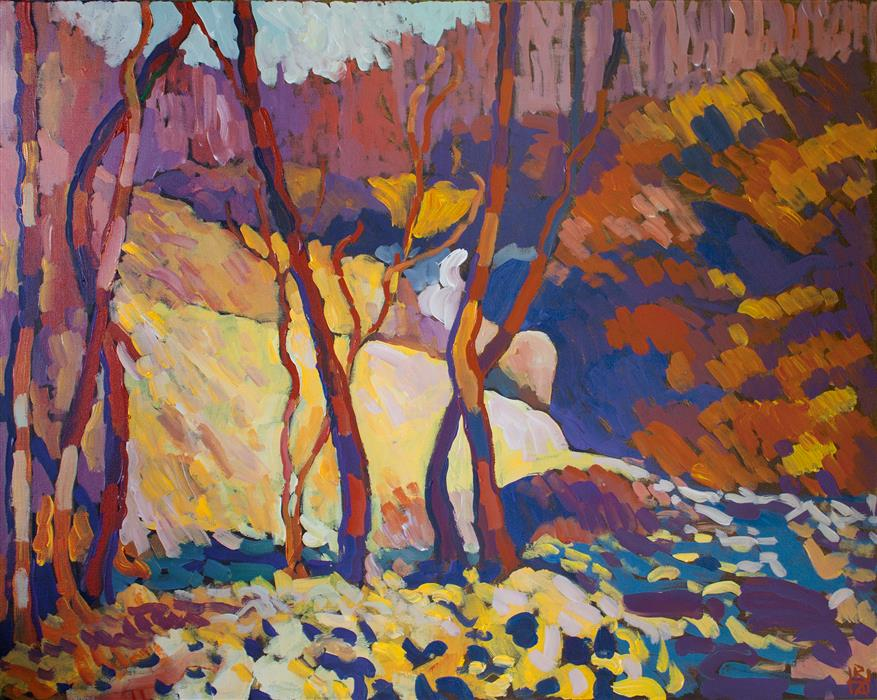 Discover Original Art by Robert Hofherr | Near the Falls acrylic painting | Art for Sale Online at UGallery