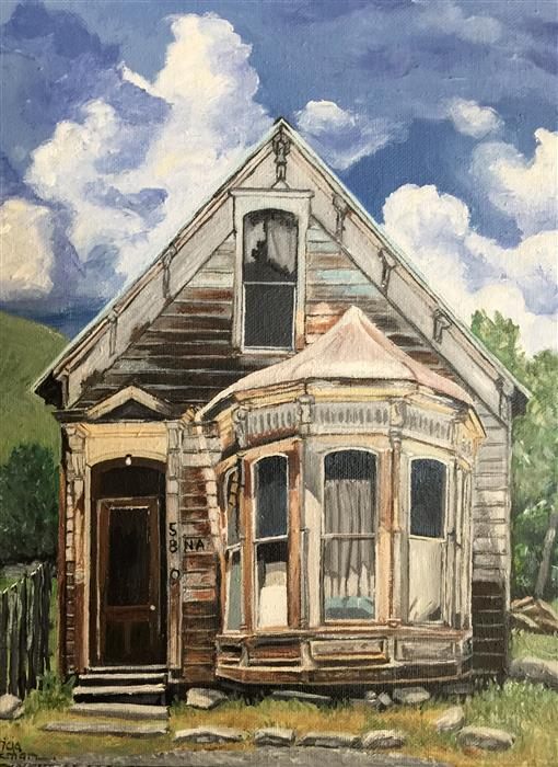Discover Original Art by Patricia Freeman | A House Wishes to Be a Home: Carpentry Skills a Plus acrylic painting | Art for Sale Online at UGallery