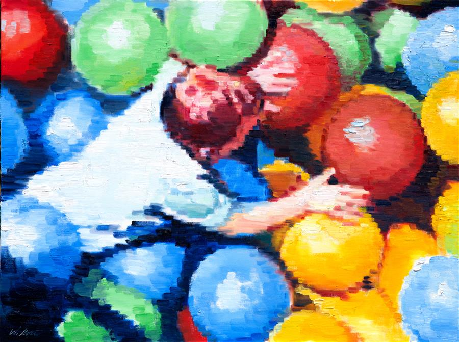 Discover Original Art by Warren Keating | Aerial View of Boy in Ball Pit oil painting | Art for Sale Online at UGallery