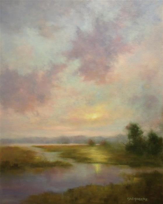 Discover Original Art by Gail Greene | A Blushed Twilight oil painting | Art for Sale Online at UGallery