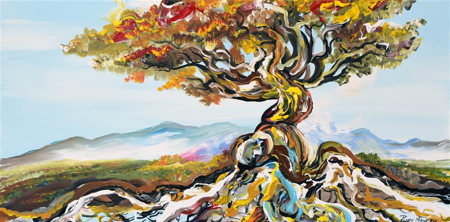 Discover Original Art by Piero Manrique   Bonsai Tree acrylic painting   Art for Sale Online at UGallery