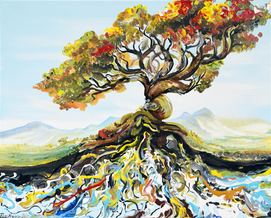 Discover Original Art by Piero Manrique   Root Tree acrylic painting   Art for Sale Online at UGallery