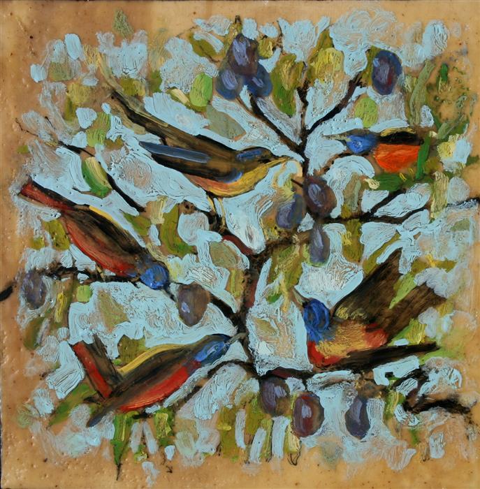 Discover Original Art by James Hartman   Painted Buntings encaustic artwork   Art for Sale Online at UGallery