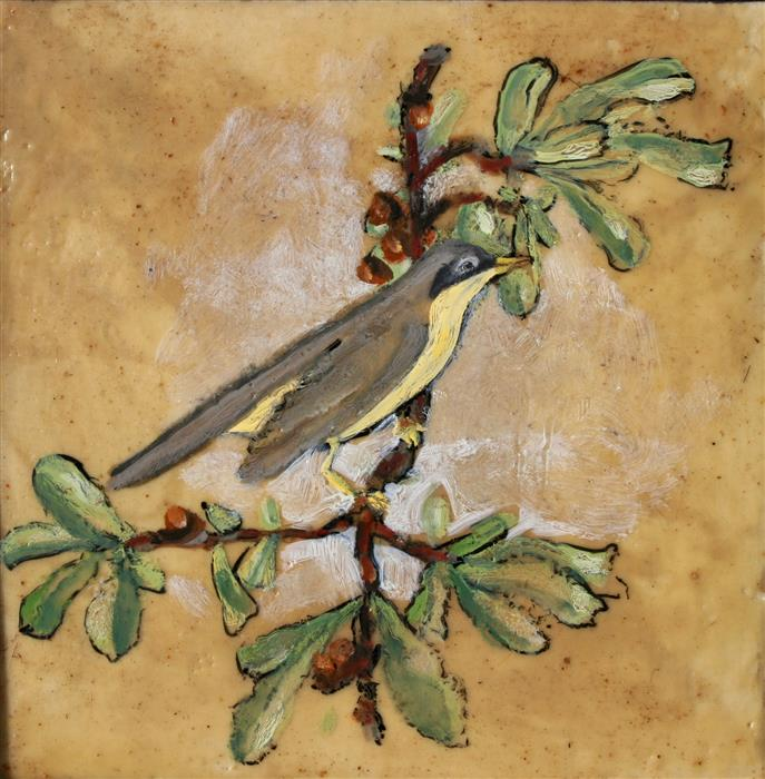 Discover Original Art by James Hartman | Yellow Warbler encaustic artwork | Art for Sale Online at UGallery