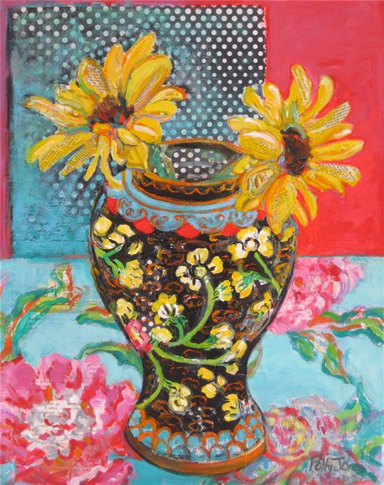 Discover Original Art by Polly Jones | Sunflowers in a Ginger Jar acrylic painting | Art for Sale Online at UGallery