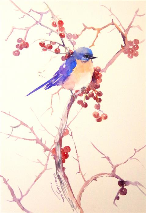 Discover Original Art by Suren Nersisyan | Berries and Bluebird watercolor painting | Art for Sale Online at UGallery
